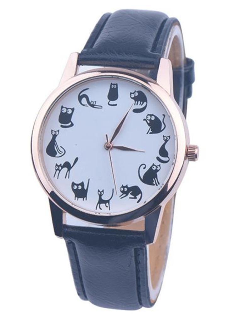 OKTIME New Cartoon Fashion Little Cat Padrão Quartz Mulheres Relógios