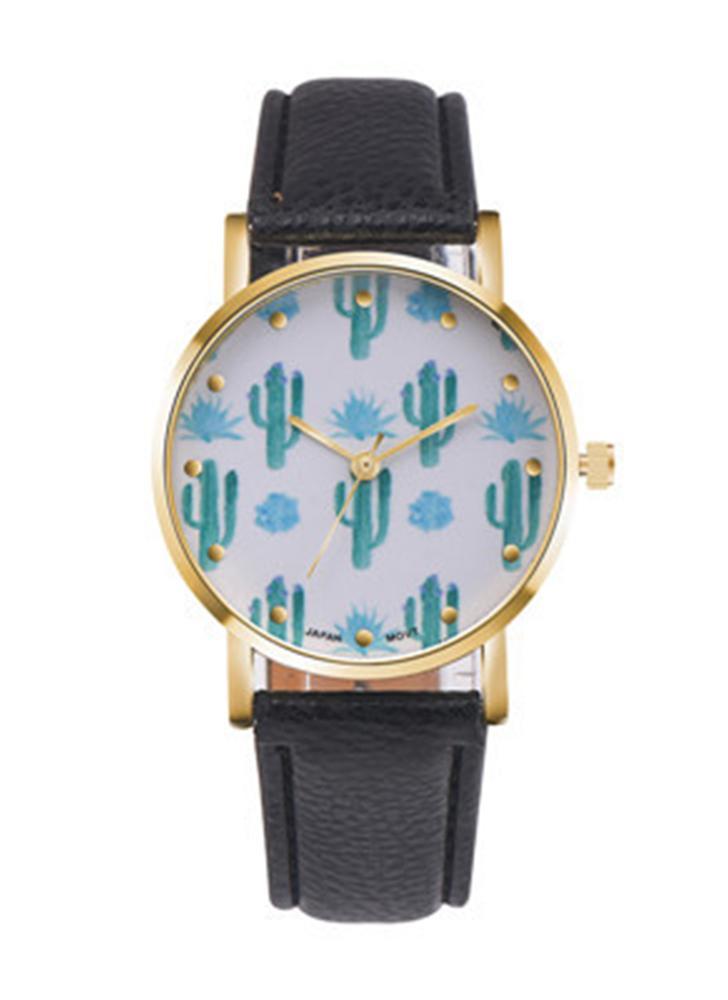 PAPHITAK Nouvelle mode Cactus Quartz Ceinture en cuir Cacti Femme Montre bracelet