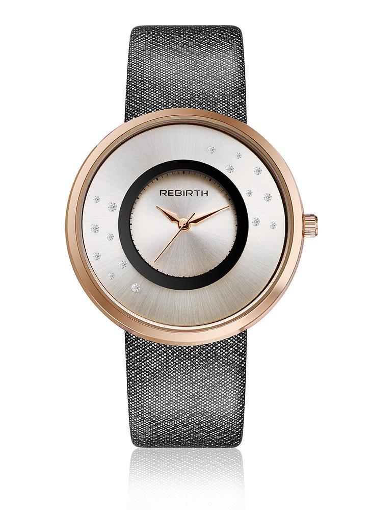 5d91c5dedba preto mulheres REBIRTH Brand Luxury Diamond Quartz PU Relógios de ...