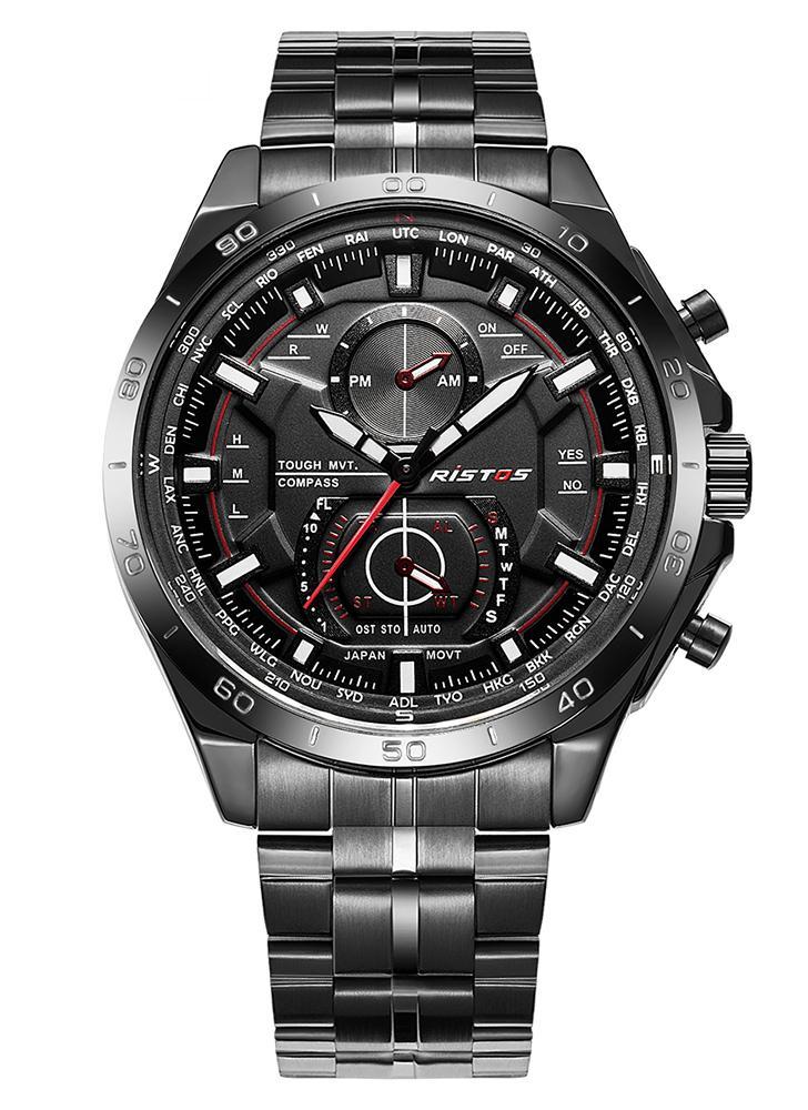 RISTOS 2017 Moda hombre de acero inoxidable reloj