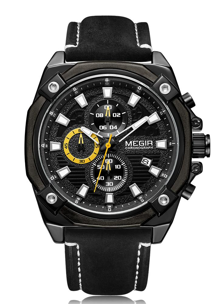 MEGIR Men Luminous Quartz Watch con correa de cuero