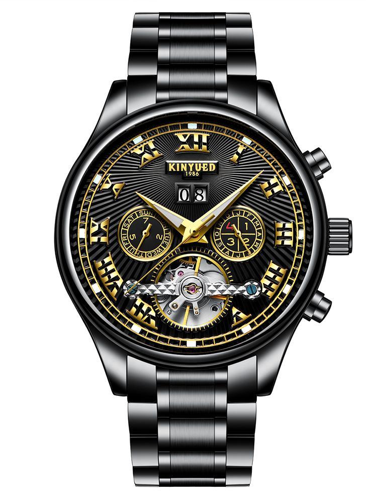 KINYUED Business Watch 3ATM resistente à água relógio mecânico automático homens luminosos Relógios de pulso Relogio Musculino masculino Calendário