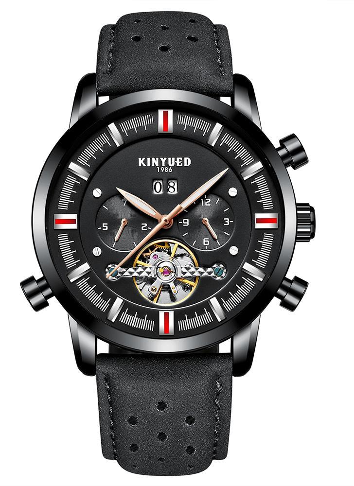 KINYUED Business Watch 3ATM reloj mecánico automático resistente al agua luminoso reloj de pulsera de cuero genuino macho Relogio Musculino calendario