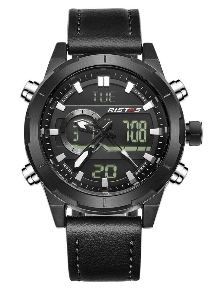RISTOS Sport Quartz Montre numérique 3ATM résistant à l'eau Montre Homme