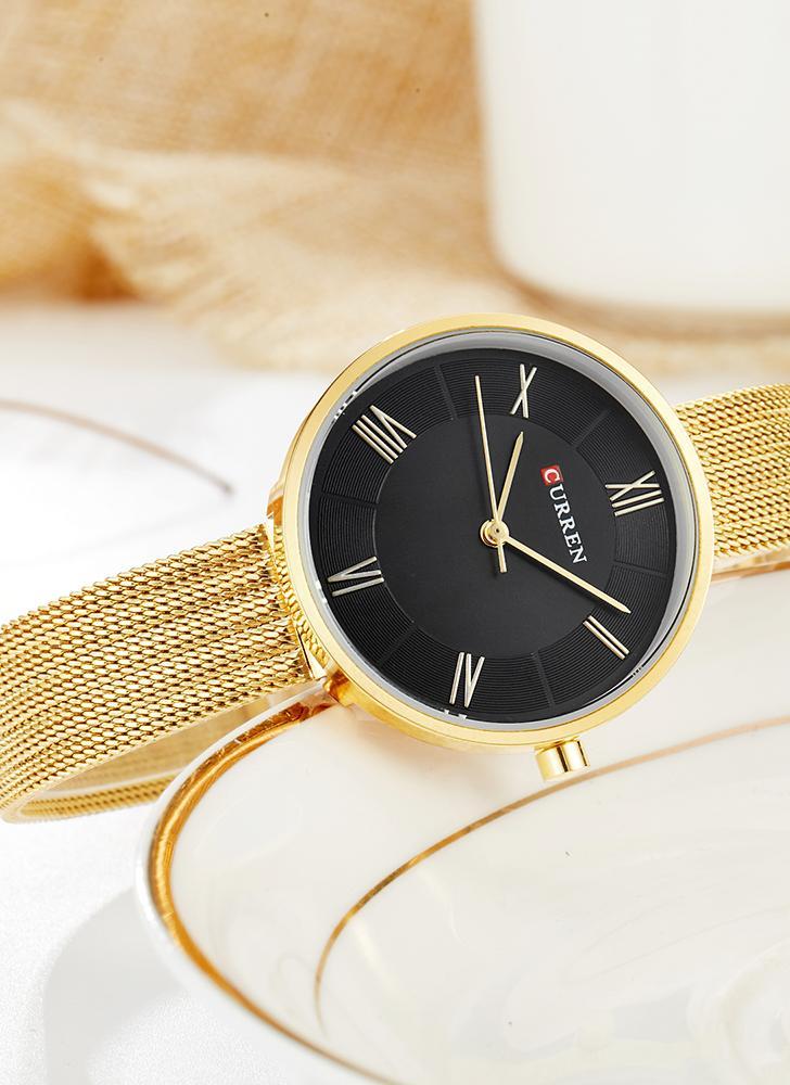 CURREN Модные роскошные женские часы из нержавеющей стали Кварц 3ATM Водонепроницаемая женщина Casual Simple Wristwatch Relogio Feminino