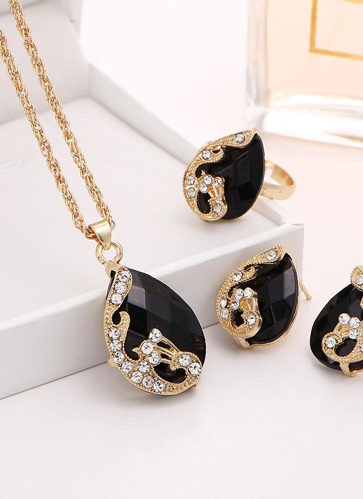 Fashion Gold-plated Jewelry Set Crystal Drop Pendant Peacock Necklace Earrings Ring Three-piece for Female