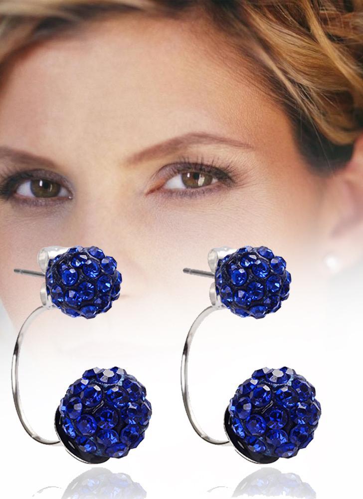 Moda Crystal Diamond Ball Ear Studs accesorios para el oído con doble bolas pendientes para mujeres y niñas