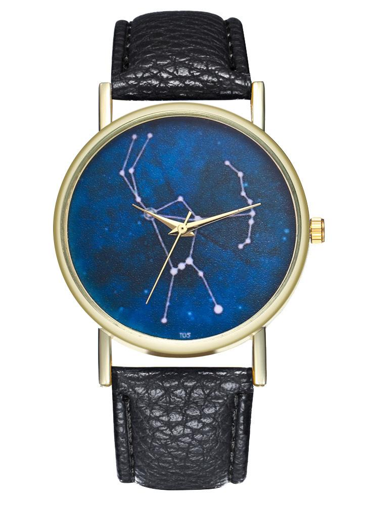 Orion Constellation Leather Ladies Men's Watch Gift Idea Minimalist Geometric Line Drawing AstronomyT05