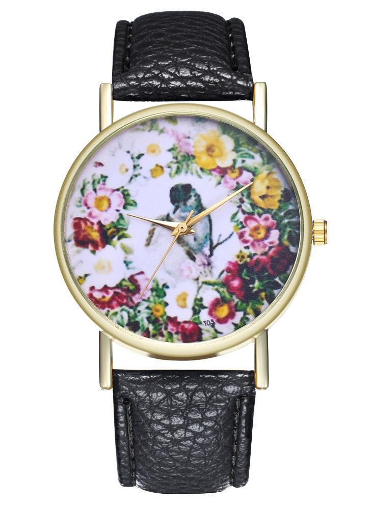 Vintage Amour Oiseaux Style Classique Fleur Montre En Cuir pour les Femmes Hommes Montre D'anniversaire De Mariage Cadeau Idées T03