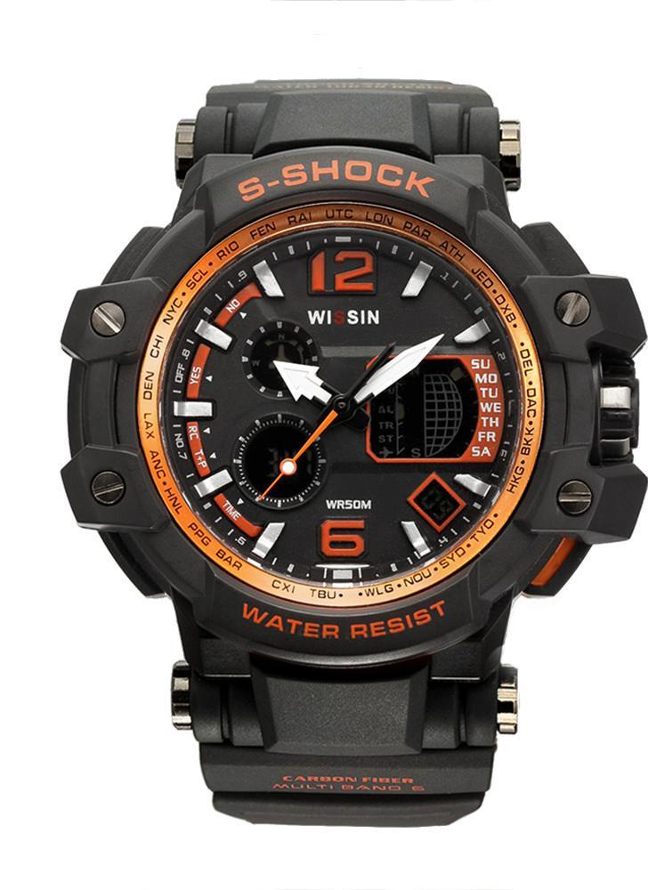 Wissin a prueba de golpes 5ATM reloj resistente al agua Hombres Relojes deportivos Reloj de pulsera de cuarzo Retroiluminación Calendario Relogio Musculino