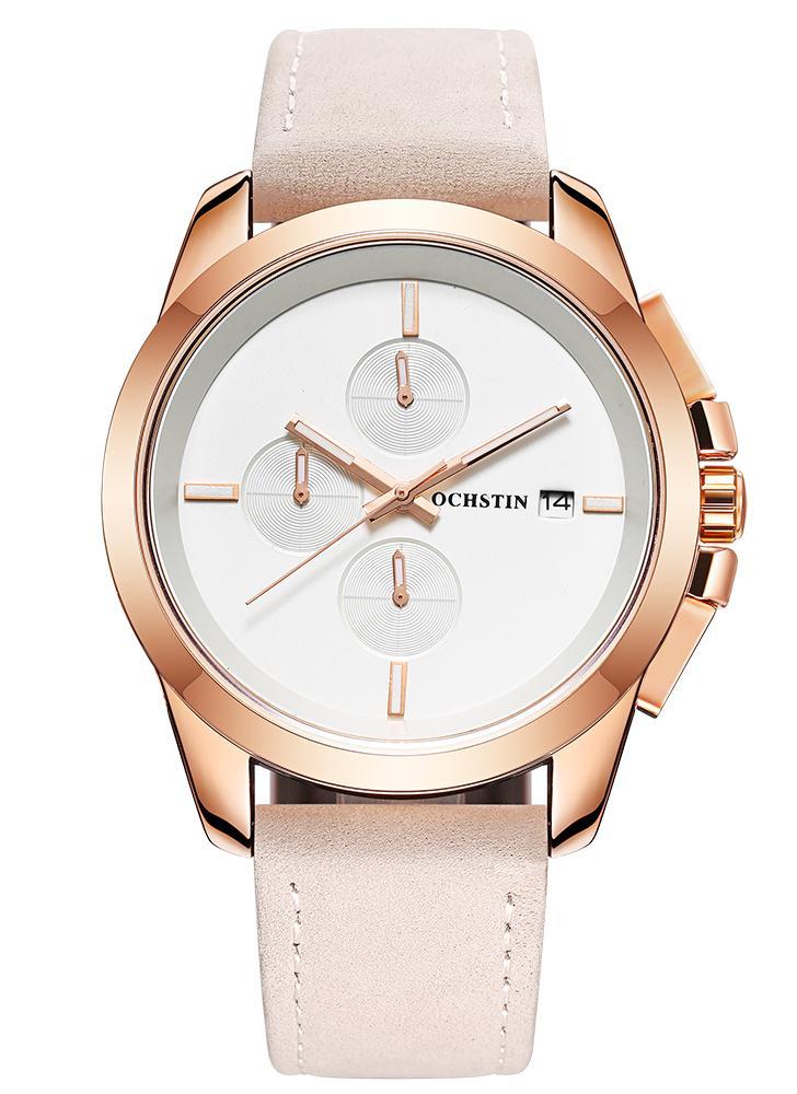 OCHSTIN Luminous Military Quartz Wristwatch Genuine Leather Men Watch