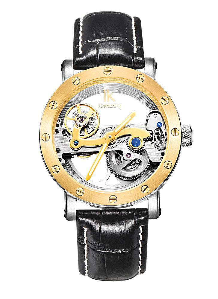 IK COLORANTE hombre lujo de cuerda automática reloj inoxidable mecánico automático Resistente al agua 5 ATM de cuero genuino reloj de acero del esqueleto