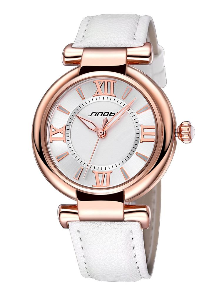 32706785bbb SINOBI nova marca moda feminina relógios casuais PU Lady relógio romano  número vermelho   laranja