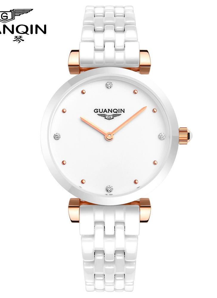 GUANQIN 2016 керамическая группа бабочки двойной застежкой кварцевые наручные  часы женщин мода случайные часы белый и a371af6a98a