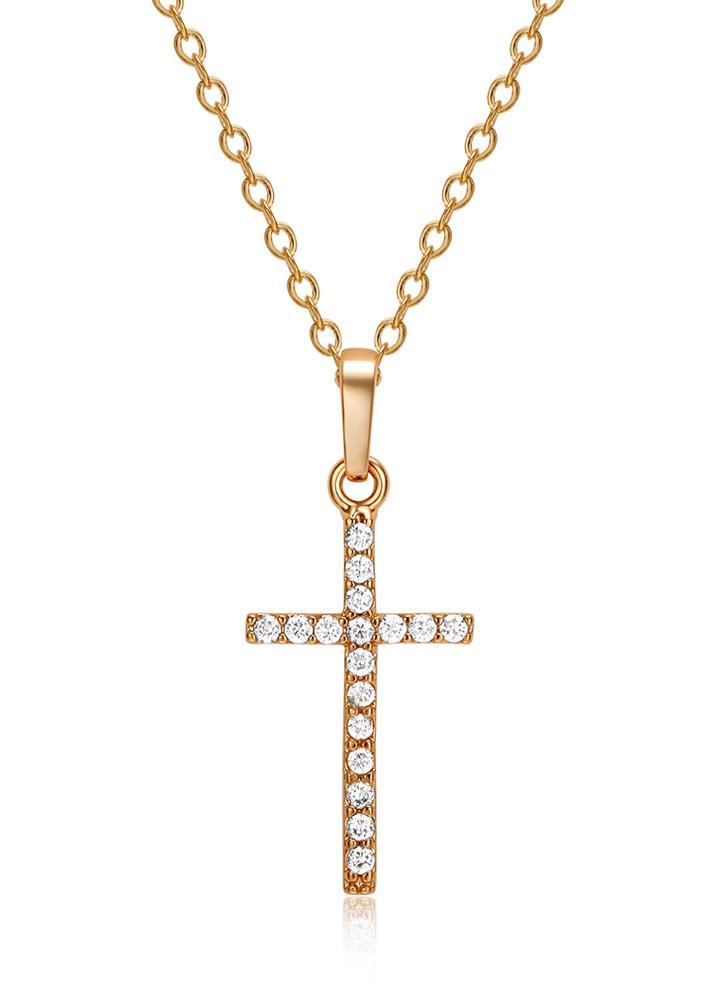 Moda Luxurious Cobre Ouro Zircon Rhinestone cristal colar de pingente Cruz banhado cadeia de jóias para o casamento Mulheres partido do presente Meninas