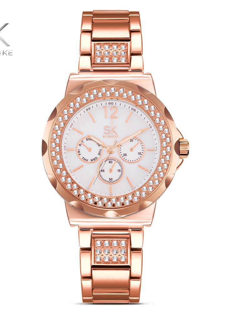 SK 2017 Luxo de aço inoxidável de ouro feminino quartzo analógico 3ATM Ladies Watch