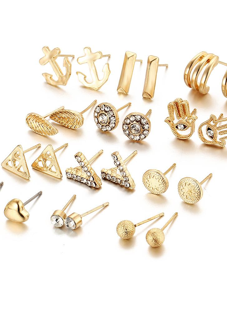 Crystal Diamond Love V bola helada 12 pares de pendientes