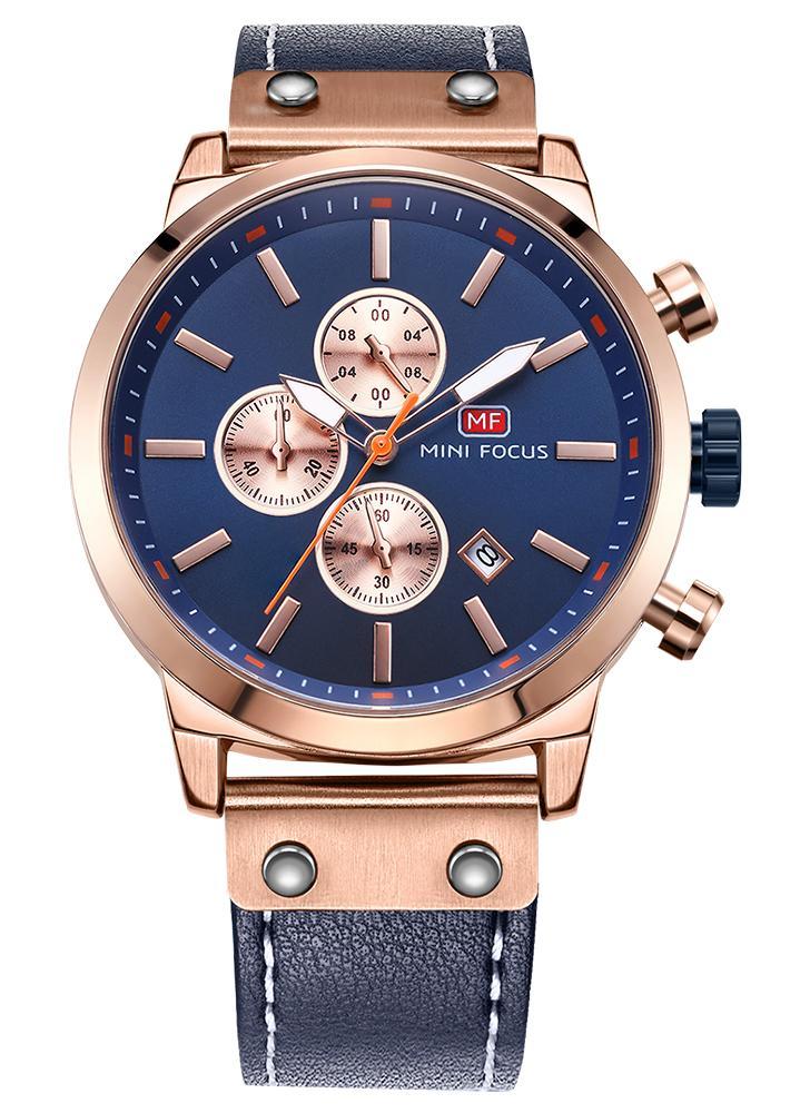 MINI FOCUS Relógios de homem de couro genuíno Quartz 3ATM Relógio de pulso Luminous Casual Luminous Waterproof Rologio Masculino Calendário