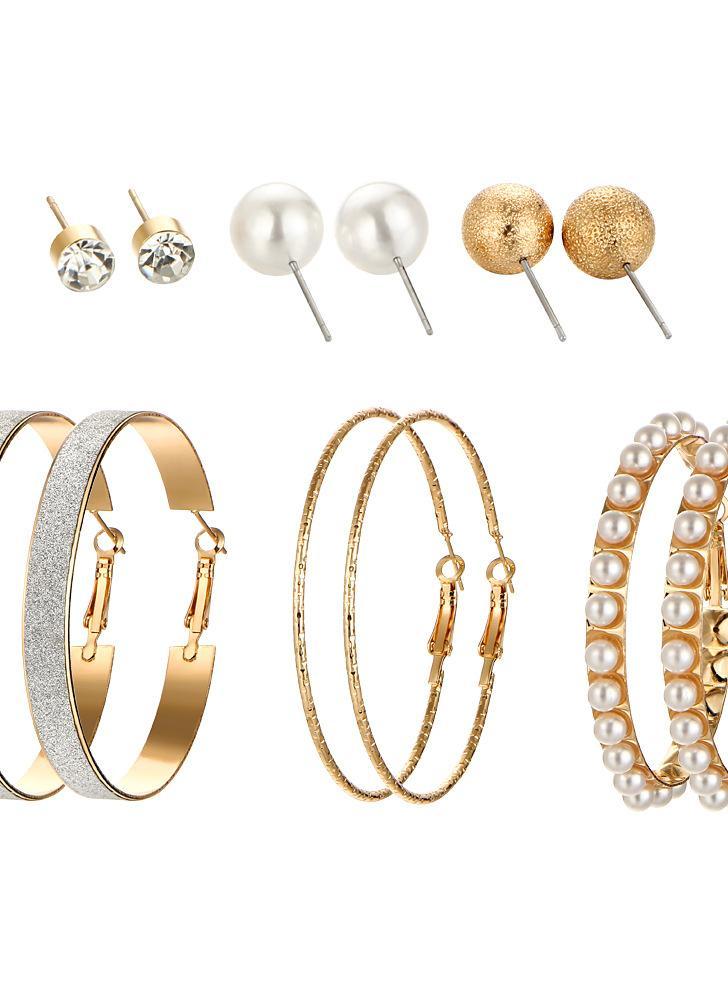 6 Paires oreille Studs Set perle givré grand cercle cristal personnalité boucles d'oreilles bijoux