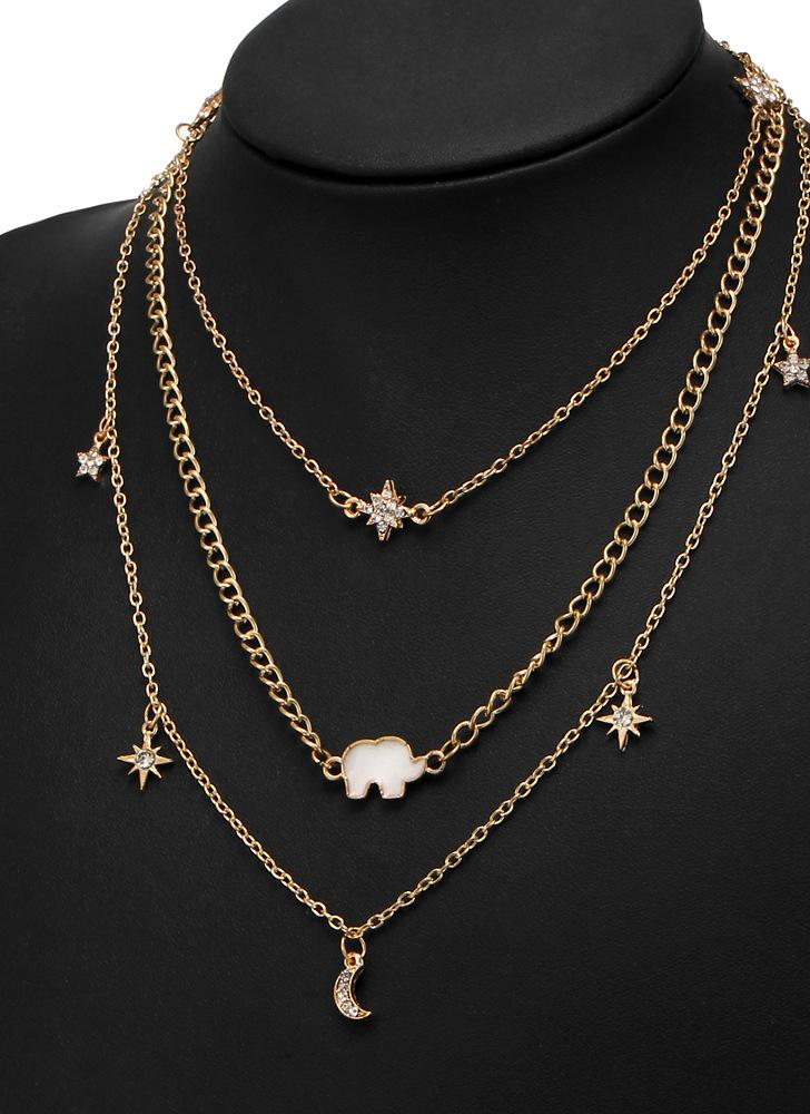 Multi-layer Necklace Moon Star Elephant Pendant Necklace Clavicle Chain Women Jewelry