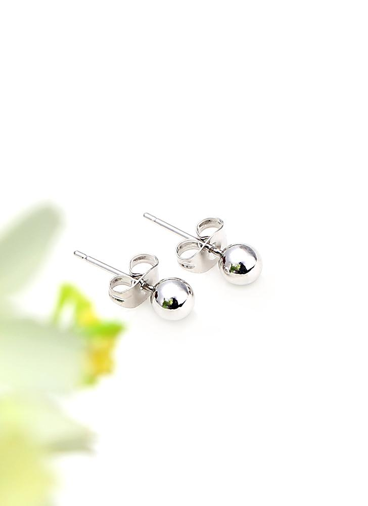 18K Gold Plated Silver Bead Round Ball Women's Stud Earrings
