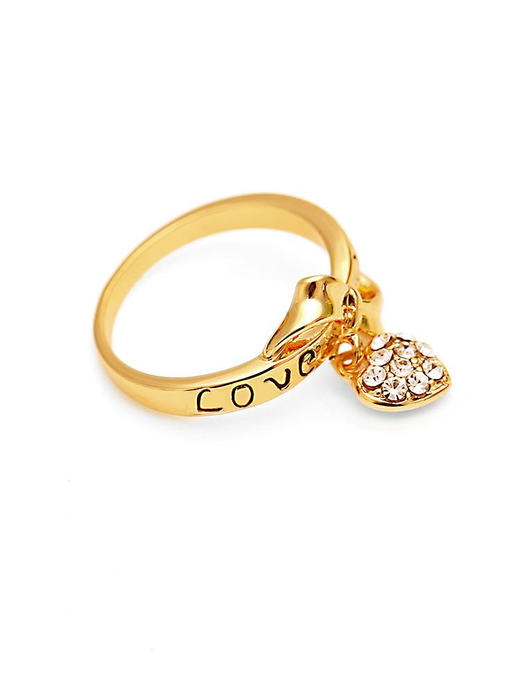 5.25 Letter LOVE YOU Bowknot Love Heart Zircon 18K Plated Gold ...