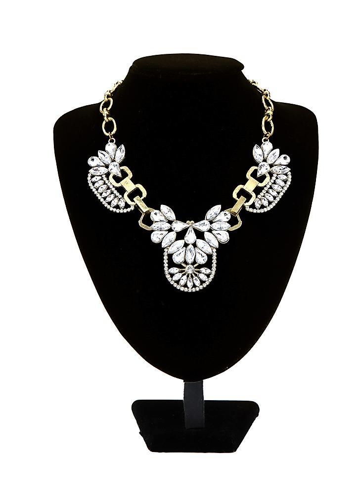 Acessório da moda na moda Vintage retrô cristal claro Cluster bolha colar pétala Rhinestone Bib gargantilha flor colar jóias gota pingente