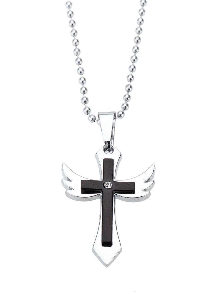 Black fashion punk cross angel wing pendant chain men women fashion punk cross angel wing pendant chain men women necklace aloadofball Image collections
