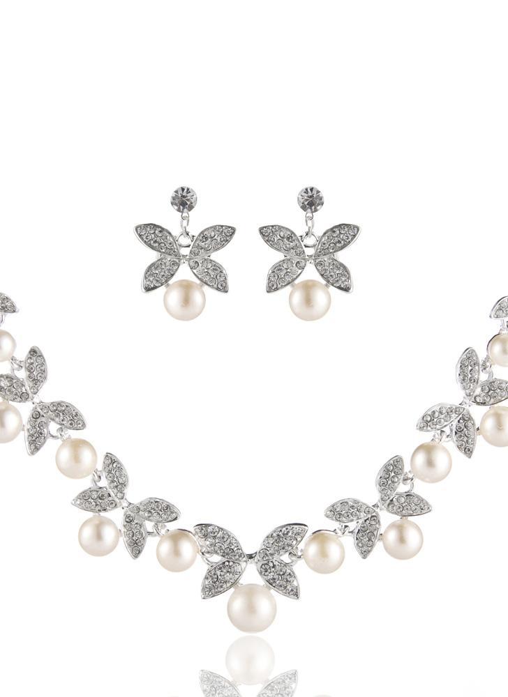Elegante Legierung mit Strass Blume und Blatt Muster Damen Ladies ...