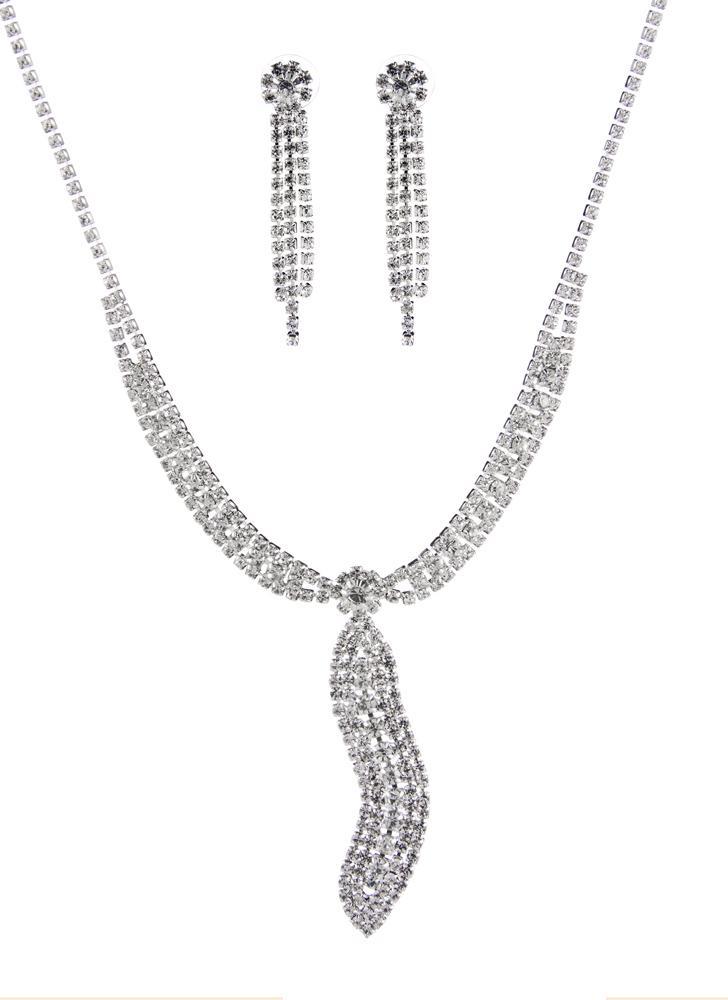 Mulheres de gravata elegante padrão ' s casamento conjunto de jóias pingente festa com strass, incluindo brincos colar de liga