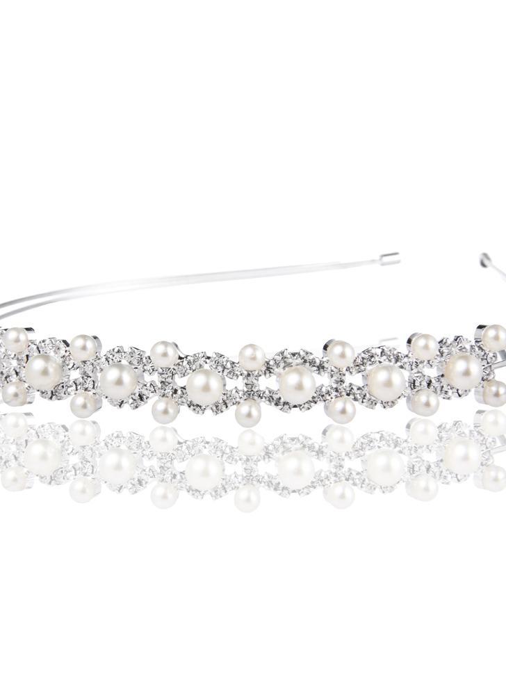 Frauen Damen Legierung Tiara mit Perlen Haarreifen mit Strass Stirnband Hochzeit Partei gnädig Headpiece