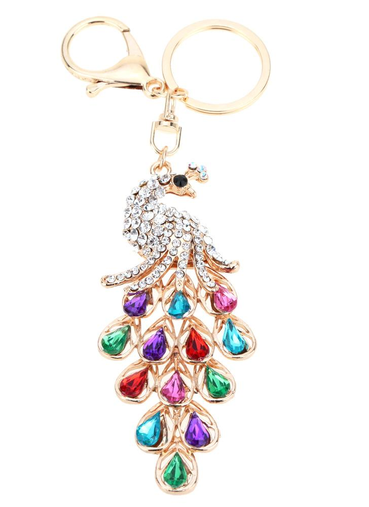 Hollow Shinning Rhinestone Aureate Peafowl Pendant Women's Key Chain