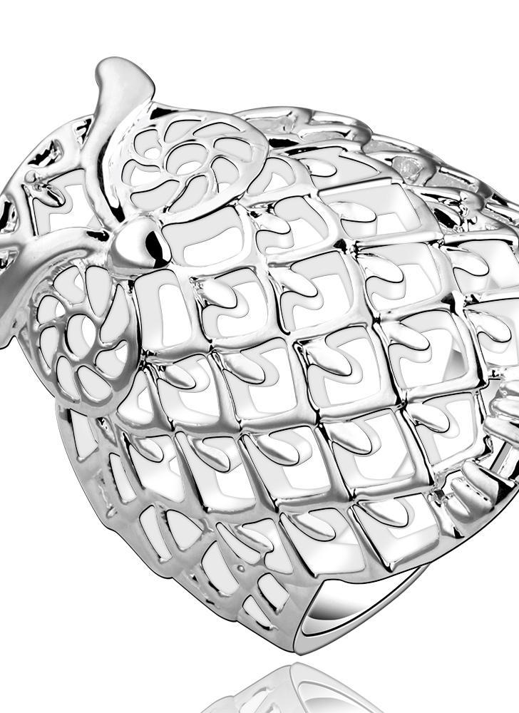 Romacci elegante Animal modelagem Shinning coruja prata jóias de anel de dedo