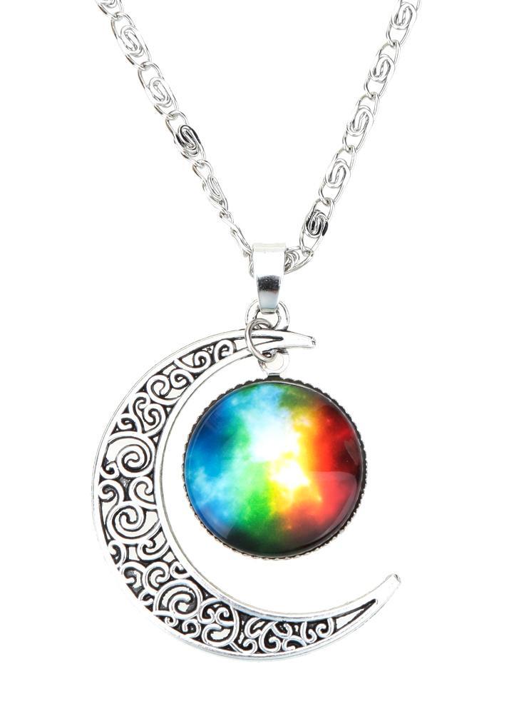 Nouveau mode bijoux rétro creux croissant de lune pendentif chaine en argent Cabochon Galaxy collier pour femmes filles