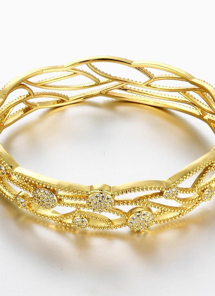 Foglie di cava Bracciale ottone Embedded con zircone AAA con un accessori  Fashional apertura Golden   e7ea49cb453