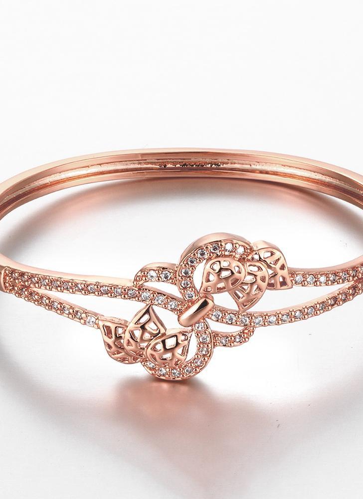 Pulseira de bronze incorporado com Zircon AAA com uma abertura & oco folhas dourado & Golden Rose Fashional acessórios para mulheres