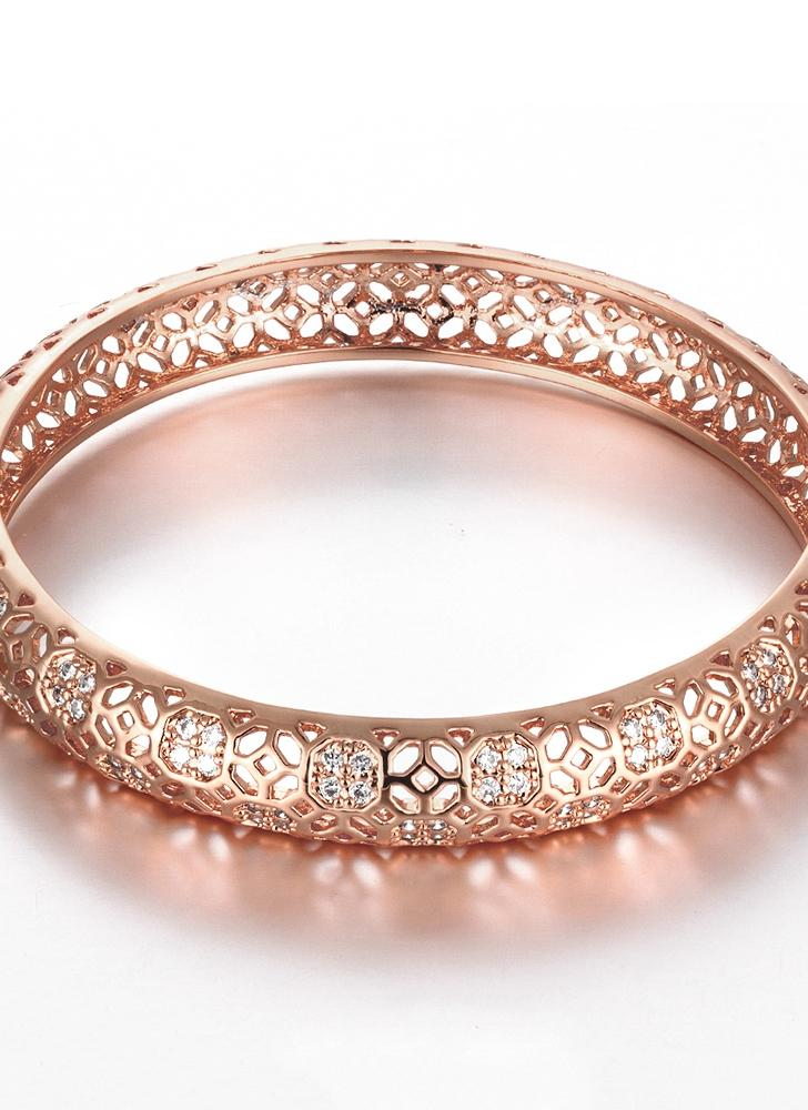 Hollow Window Lattices Brass Bangle Bracelet Embedded Fashional Accessories for Women