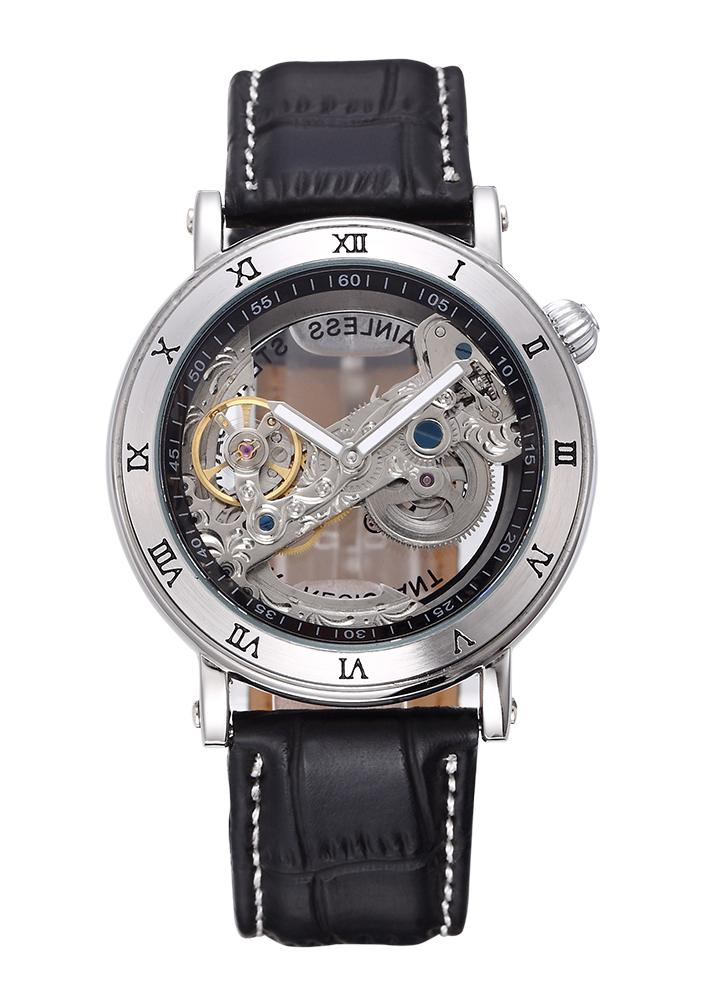 SHENHUA Unique Transparent Skeleton Self-winding Mechanical Watch