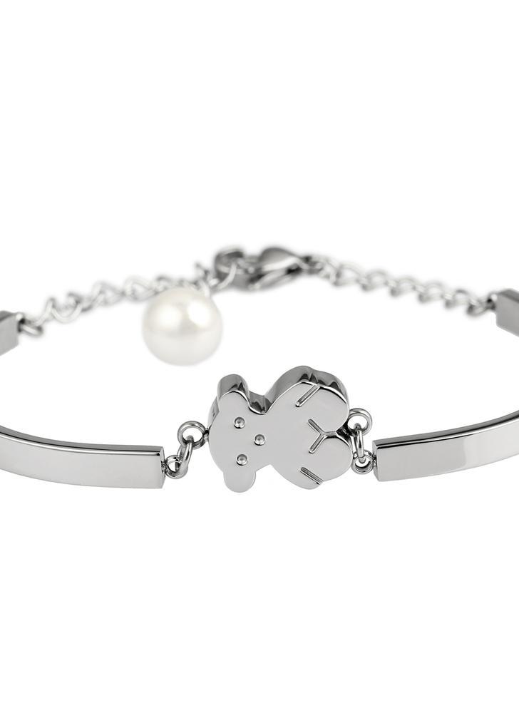 Pequeño oso giro cadena brazalete pulsera 316L titanio acero hembras moda joyería decoraciones