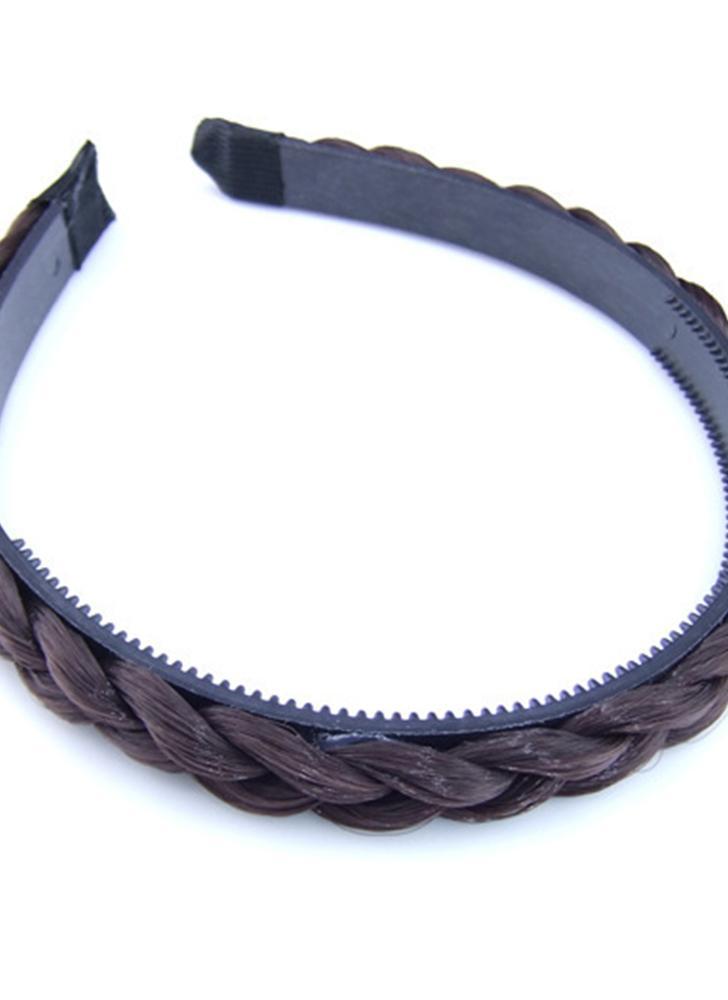 de color caqui oscuro Moda Nueva Peluca De Moda Trenza Hairband ...