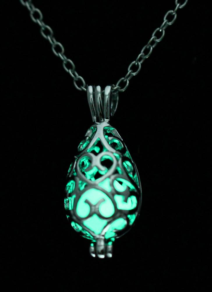 Glow Hollow Water Drop colgante collar