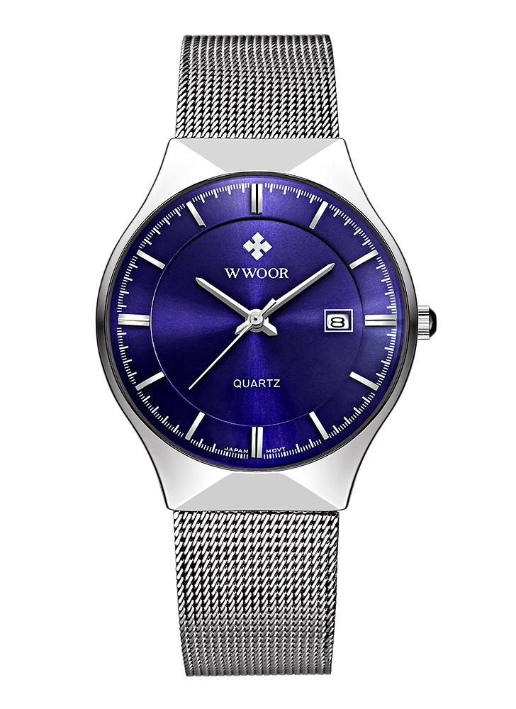 WWOOR Ultra Thin Dial FashionCalendar Quarz Mesh Edelstahl Uhren