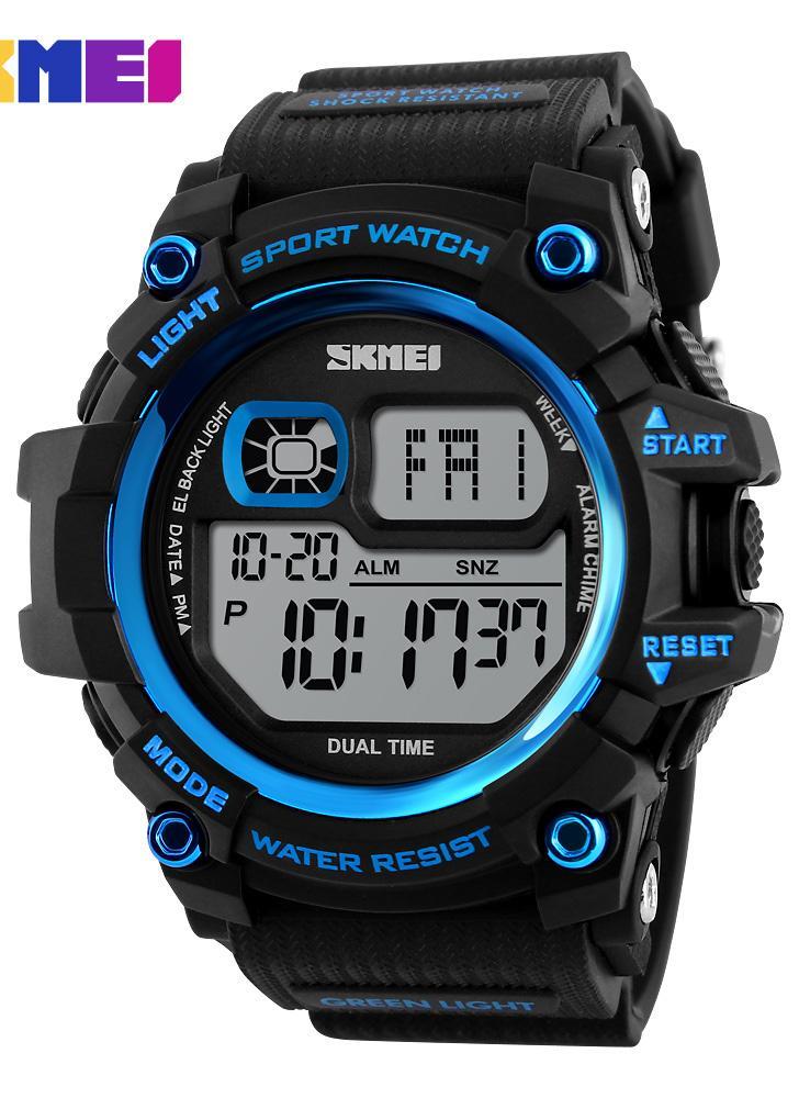 SKMEI Moda função Multi-50M prova de água Homens Mulheres Sports Watch Backlight Dual Time Unisex eletrônico ao ar livre relógio de pulso Casual alarme cronógrafo contagem regressiva 4 cores