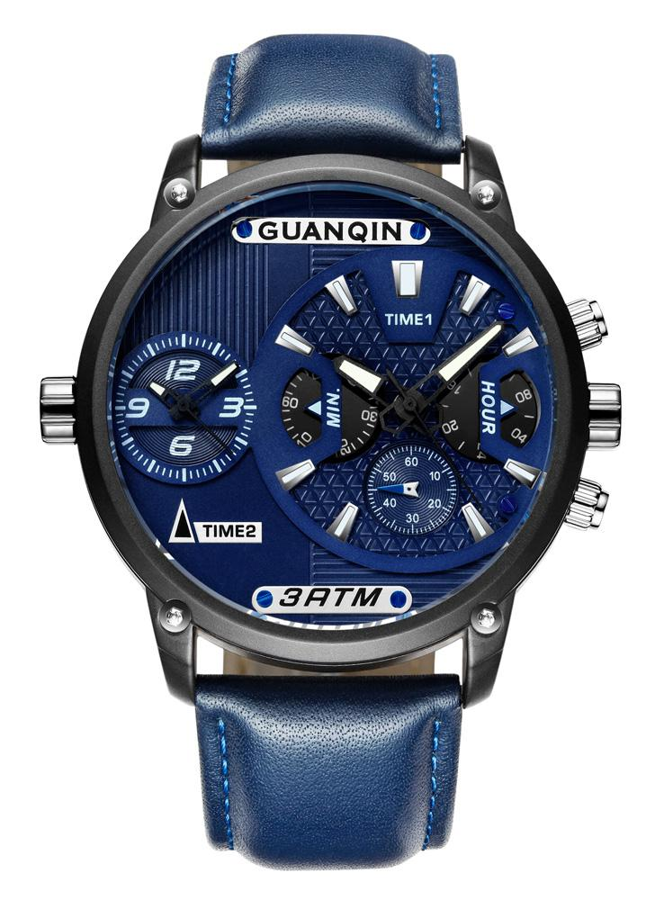 GUANQIN Sapphire Luminous Dual Time Display Quartz Men Watch