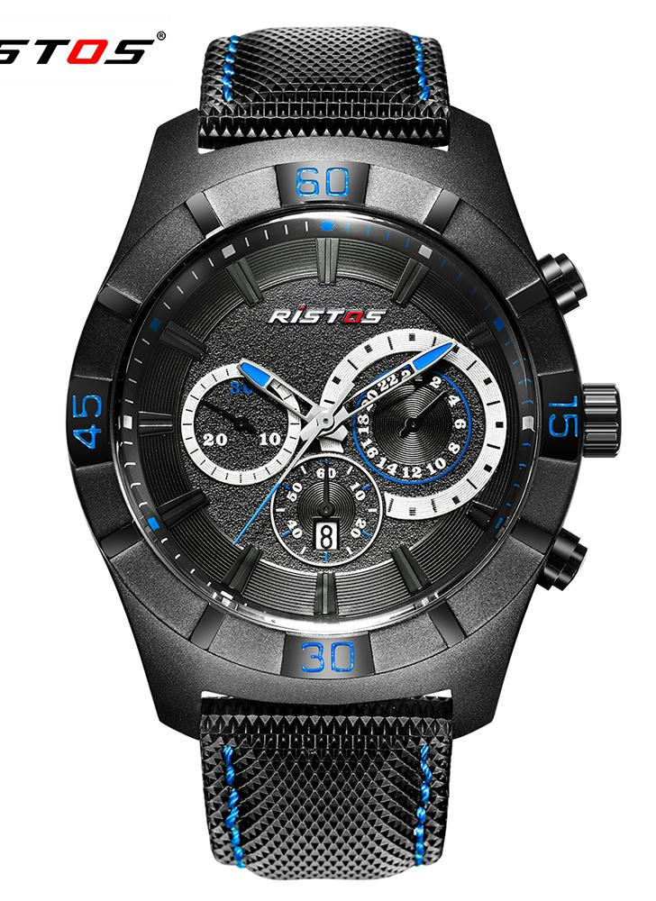 RISTOS Mens Waterproof Sport Quartz Wrist Watch