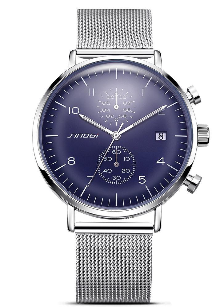 SINOBI Sport Watch 3ATM Cuir quartz imperméable à l'eau Hommes Montres-bracelets Homme Relogio Musculino Calendrier Chronographe