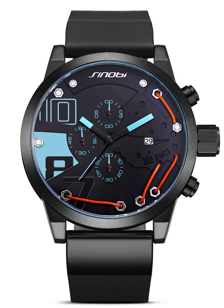 ff960f694c4 SINOBI Sport Watch 3ATM relógio de quartzo resistente à água homens relógios  de pulso