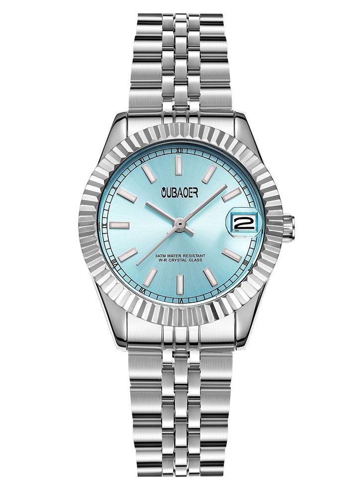 OUBAOER moda lujo acero inoxidable mujer relojes cuarzo 3ATM resistente al agua Casual mujer reloj de pulsera Relogio Feminino calendario