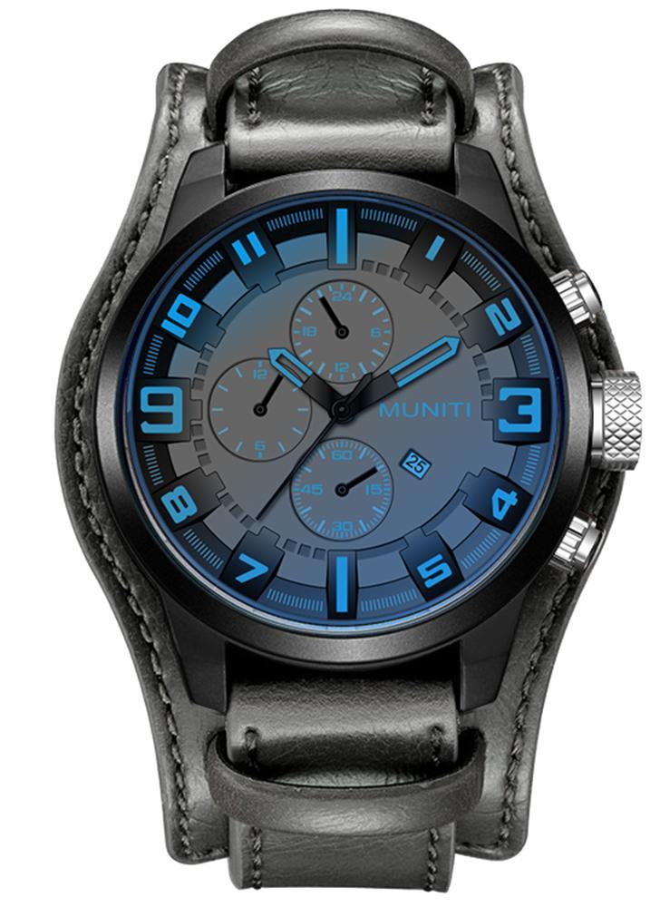 MUNITI Fashion Sport Men Watch Life Resistente à água com quartzo Homem Relógio de pulso