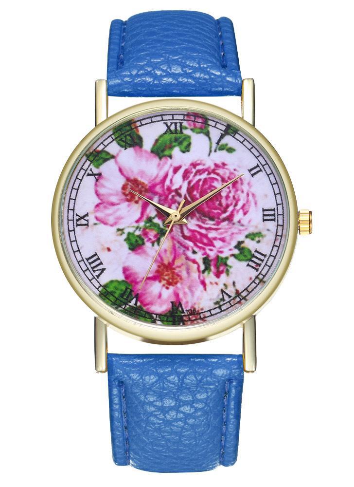 Konigsblau Rosa Blume Vintage Floral Leder Watch Fur Frauen